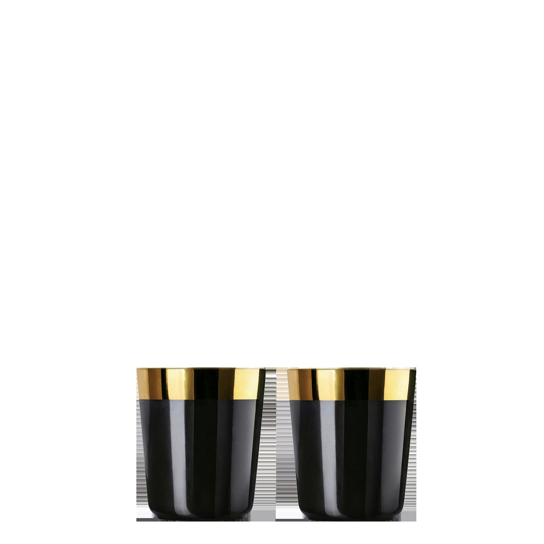 2 Digestif cups black, smooth