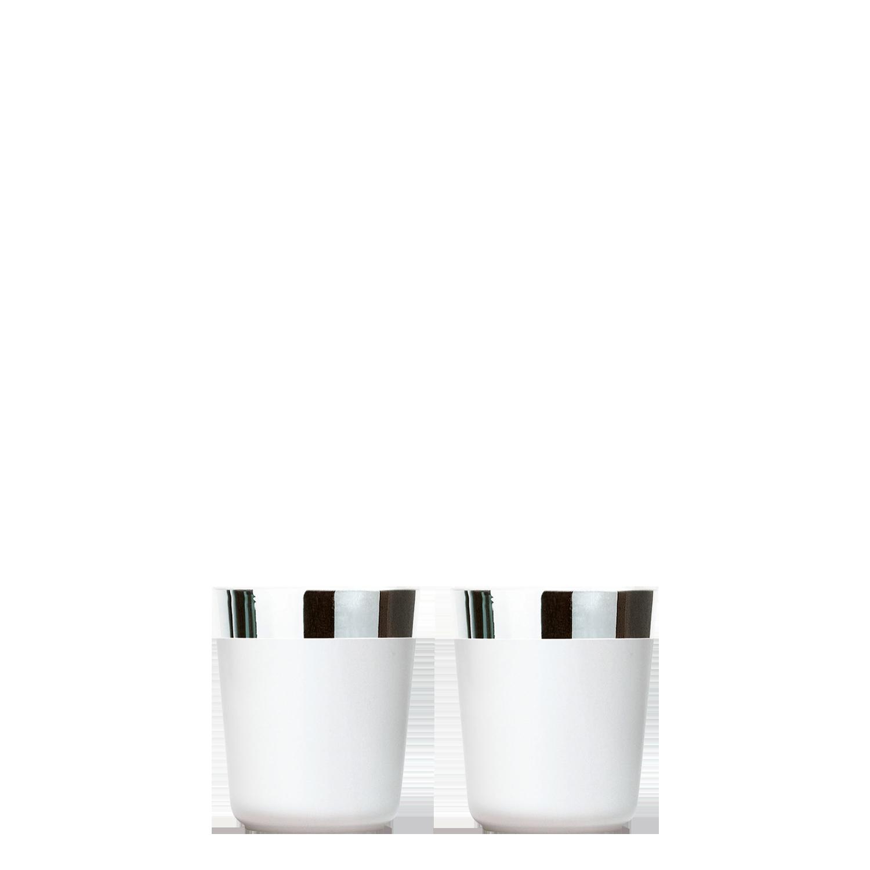 2 Digestif cups white platinum, smooth