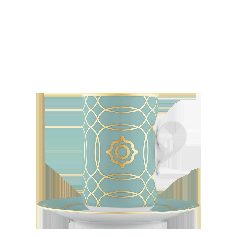 Hot chocolate cup, saucer