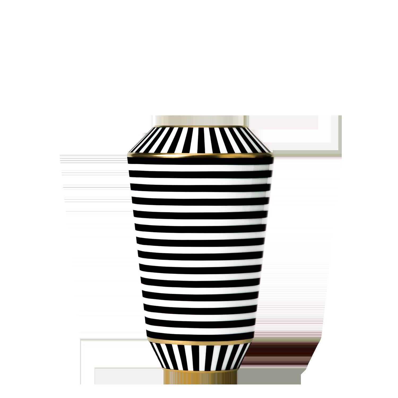 Vase LUNA, schwarz/gold