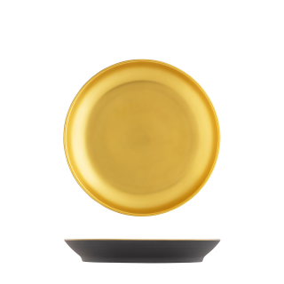 Breakfast plate, anthracite, gold