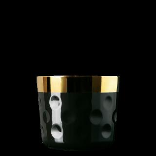 Champagne goblet black, dot-pattern relief