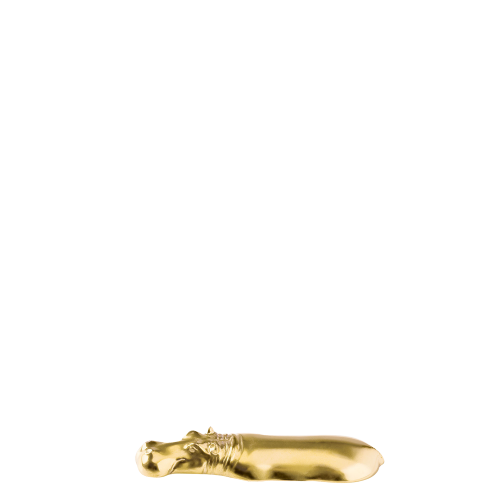 Knife rest hippo, gold