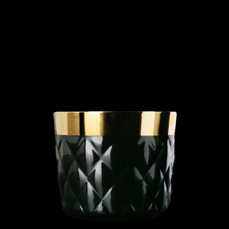 Champagne goblet, black, diamond embossed