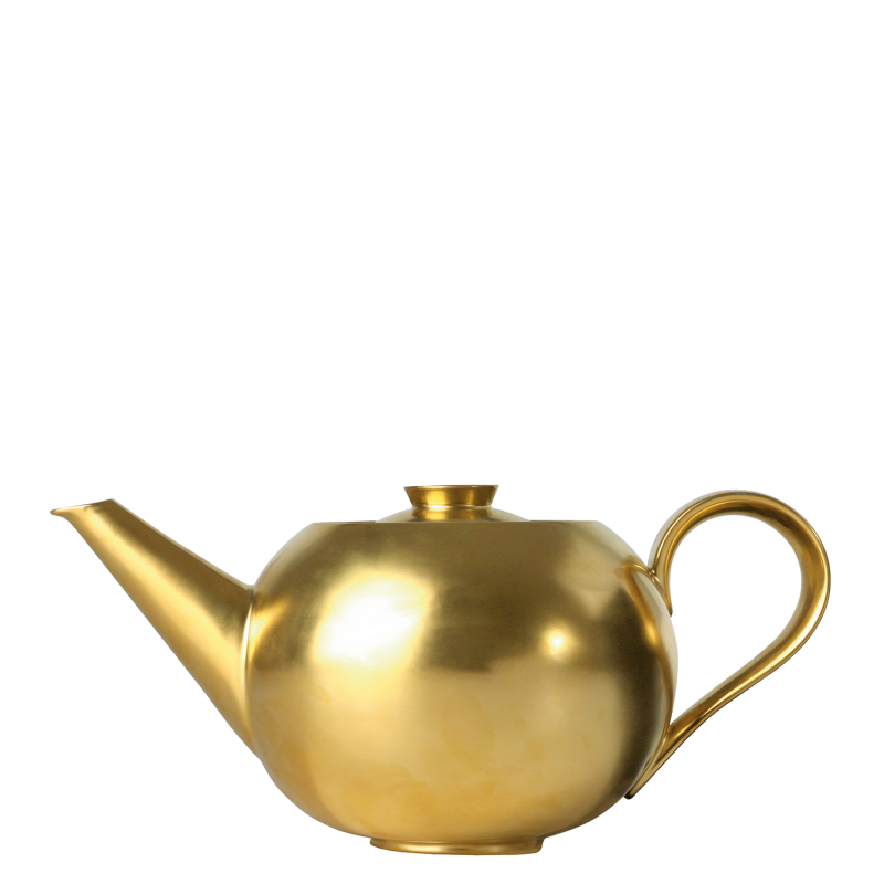 Teapot gold with tea strainer