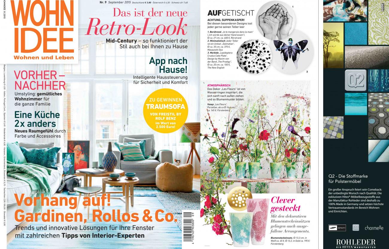 Veröffentlichung Vasen LES FLEURS in dem Magazin WOHN IDEE