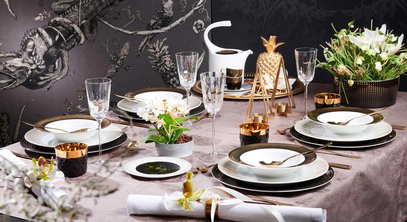 Festlich gedeckter Tisch mit Auréole Clair de lune