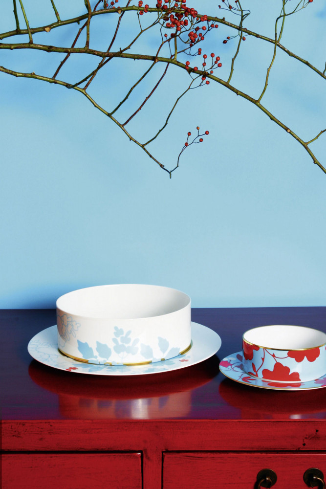 Bowls on a plate on a red cupboard, blue ceiling in the back