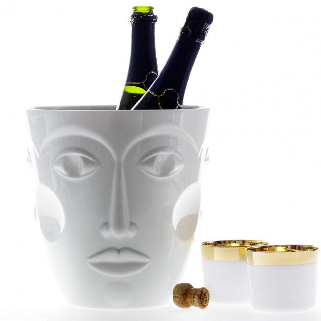 Sektkühler faces und Champagnerbecher Sip of Gold der Marke Sieger by Fürstenberg in weiß mit Gold