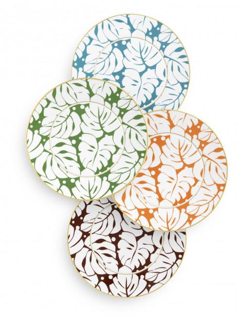 Vier jeweils anders farbige Platzteller der Fürstenberg Form Auréole mit dem Dekor Colorée