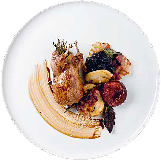 Roast quail with braised figs, grapes and pancetta
