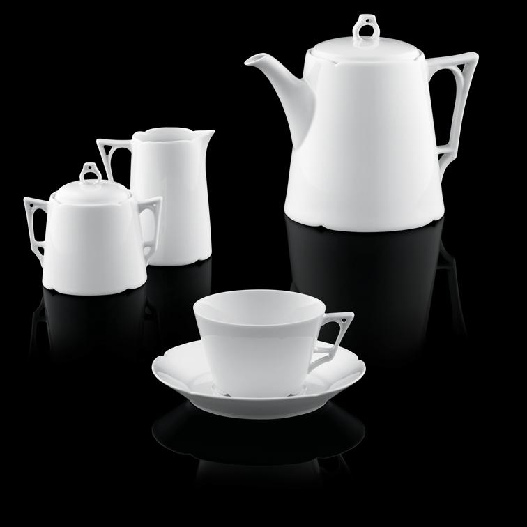 Kaffeekanne, Milchkännchen, Gießer und Kaffeetassen Fürstenberg Form Ariana weiß