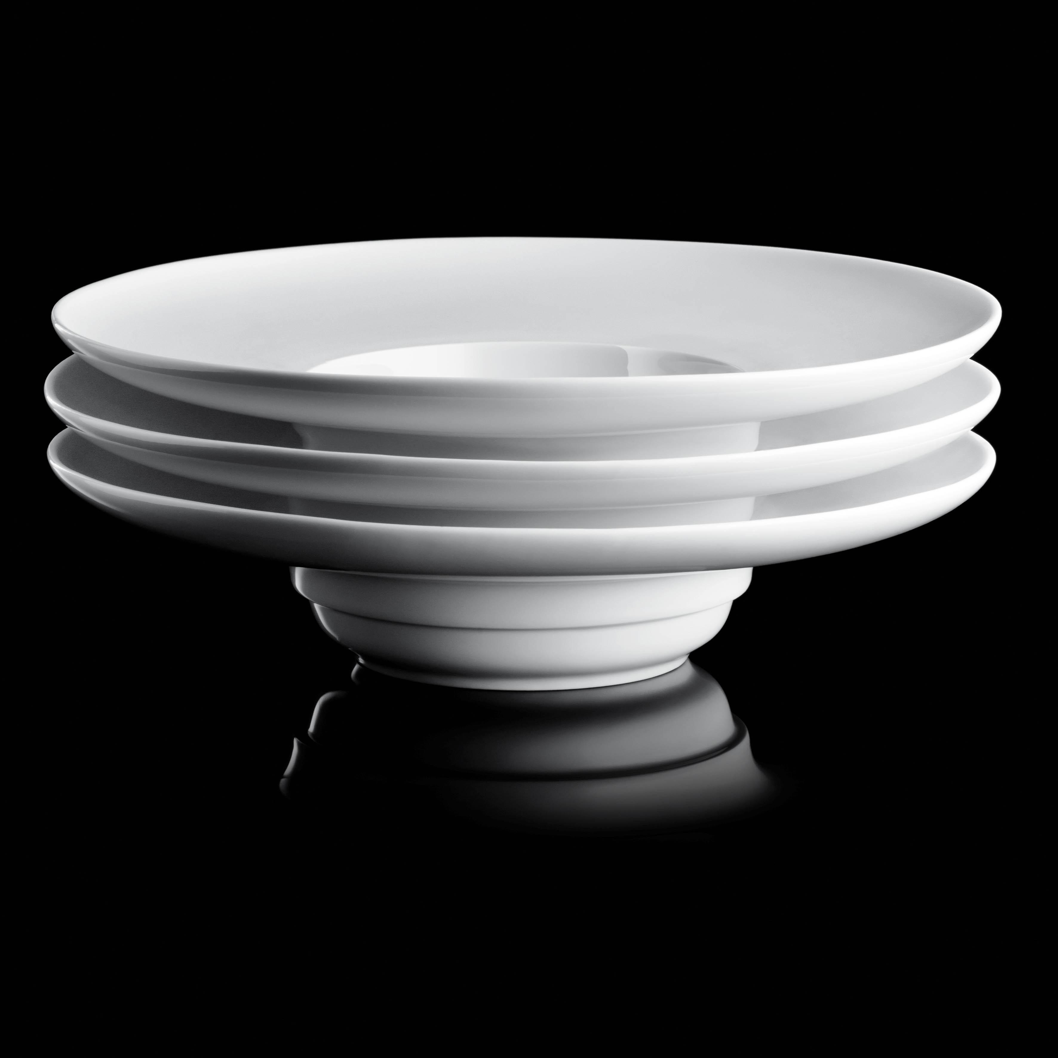 Tellerstapel der Fürstenberg Gourmetlinie Blanc in weiß