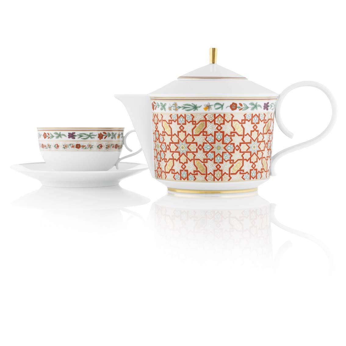 Teetasse und Teekanne der Fürstenberg Form Carlo mit dem Dekor Rajasthan